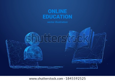 Low poly 3d wireframe of laptop, person symbol icon, computer screen and book in blue background. Online education, reading or distance learning concept. Digital vector mesh with lines and dots