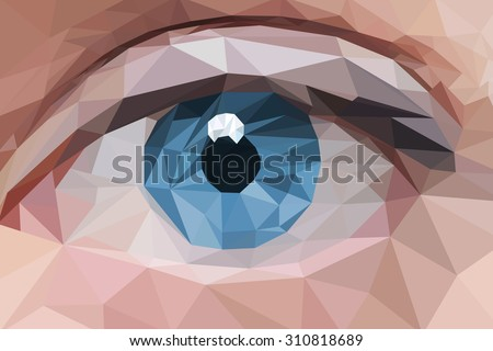 low poly design blue eye in
