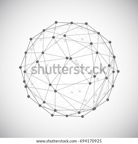 Low poly design element, Cybernetic shape with grid and transparent lines and dots mesh. Vector illustration