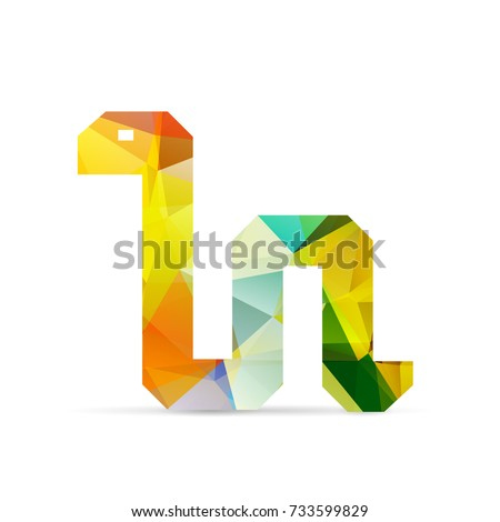 low poly design of python isolated on white background