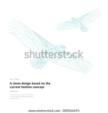 Low Poly Eagles Stylized Linear Wire Construction Abstract Polygonal Bird Geometric Illustration With Sample Vector American Set
