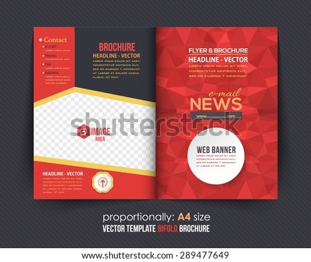 Low Poly Elements Style Business Bi-Fold Brochure Design. Corporate Leaflet, Cover Template