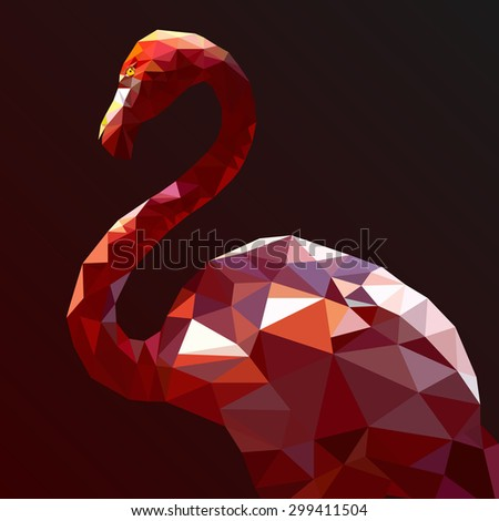 low poly flamingo vector art