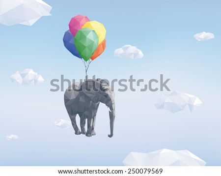 low poly flying elephant low