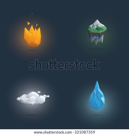 low poly four elements symbols