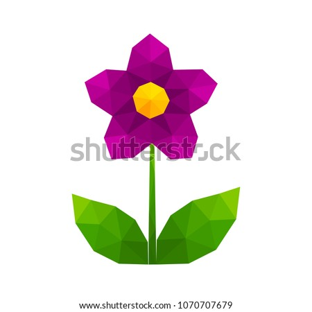 Low poly geometric purple flower. Vector illustration