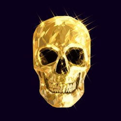 low poly golden design skull