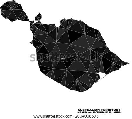 Low-poly Heard and McDonald Islands map. Polygonal Heard and McDonald Islands map vector designed of scattered triangles.