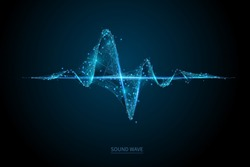 Low poly heart beat 3D wave on dark background. Abstract heartbeat or cardiogram in form of line, dot and polygon. Digital music sound vector network. Futuristic wireframe curve of cardiology rhythm.