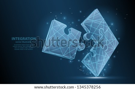 Low-poly illustration of a assembled puzzle on a dark background, integration symbol