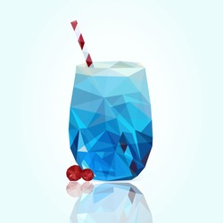 Low poly illustration of a glass cocktail drink. Polygon food icon. Made with vector triangles. Vector illustration
