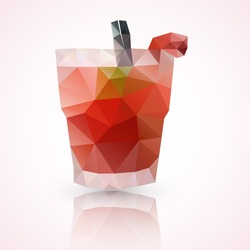 Low poly illustration of a glass of Caipirinha or Caipiroska cocktail drink at strowberry taste. made with vector triangles