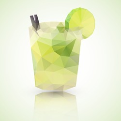Low poly illustration of a glass of Caipirinha or Caipiroska cocktail drink. made with vector triangles