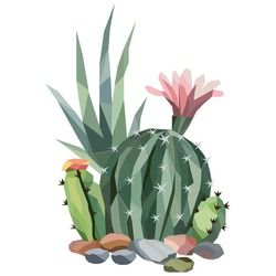 Low poly illustration of cactus tree with flower and stones. Gradient, polygonal.