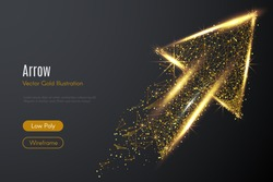 Low poly illustration of the arrow up with a golden dust effect. Sparkle stardust. Glittering vector with gold particles on dark background. Polygonal wireframe from dots and lines. Business concept