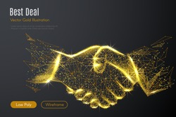 Low poly illustration of the Business handshake with a golden dust effect. Sparkle stardust. Glittering vector with gold particles on dark background. Polygonal wireframe from dots and lines.