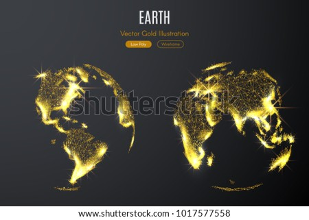 Low poly illustration of the Two hemispheres of the Earth with a golden dust effect. Sparkle stardust. Glittering vector with gold particles on dark background. Polygonal wireframe from dots and lines
