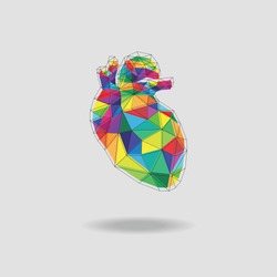 Low-poly images of heart in multiple colors vector illustration