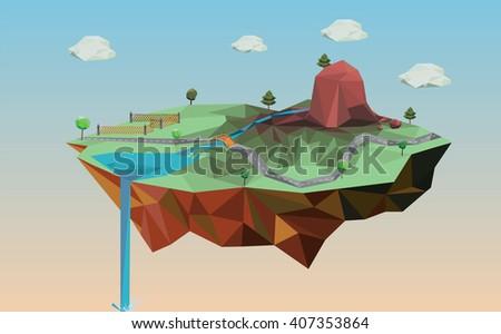 low poly island landscape