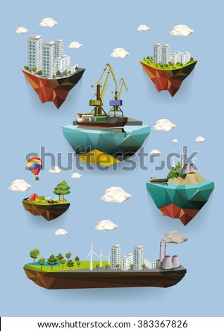 Low poly island with various buildings. Set of vector illustrations.