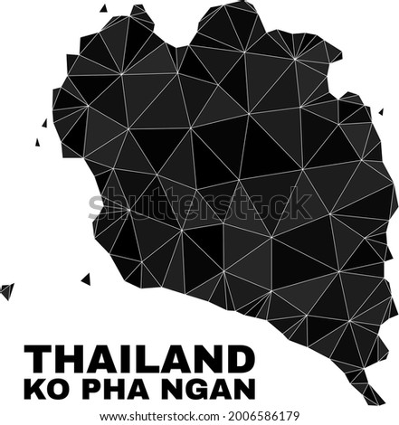 Low-poly Ko Pha Ngan map. Polygonal Ko Pha Ngan map vector combined of chaotic triangles. Triangulated Ko Pha Ngan map polygonal abstraction for patriotic illustrations. Zdjęcia stock ©