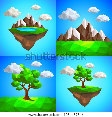 low poly landscape with tree