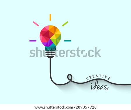 Low poly lightbulb as creative idea concept