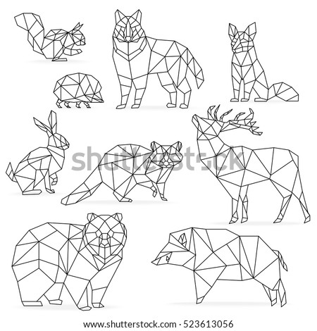 Low poly line animals set. Origami poligonal line animals. Wolf bear deer wild boar fox raccoon rabbit hedgehog