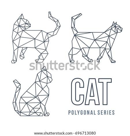 Shutterstock LOW POLY LOGO ICON CAT PET TRIANGLE MODERN POLYGONAL SET