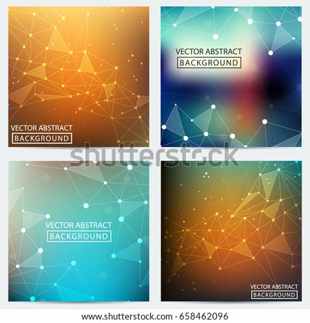 Low poly. Low poly set backgrounds. Concept of the science, chemistry, biology, medicine, technology, business. Geometric backgrounds.