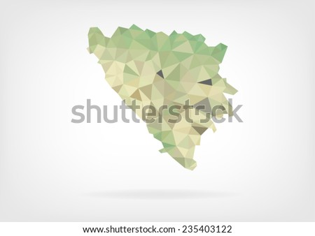 low poly map of bosnia and
