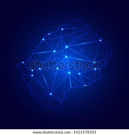 Low poly map of Lesotho with lights, communication, trendy triangles design. Wire frame concept.