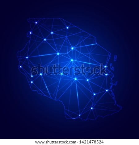 Low poly map of Tanzania with lights, communication, trendy triangles design. Wire frame concept.