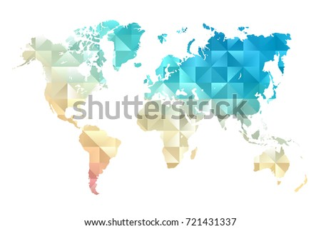 Low poly map of world. Made of triangles. Colorful polygonal shape vector illustration on white background. Vector illustration eps 10. #721431337
