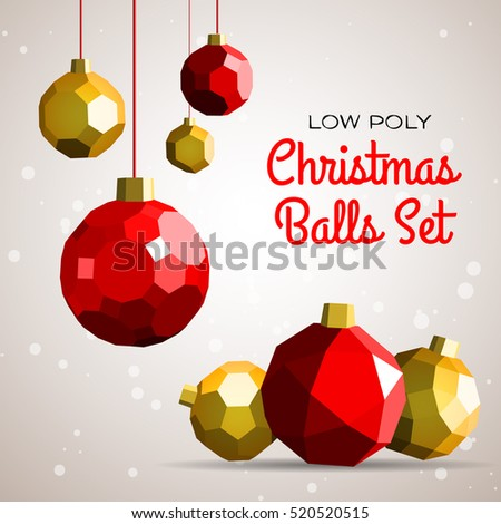 low poly merry christmas balls