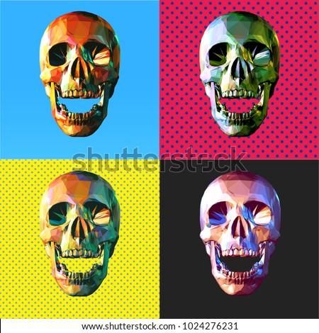 low poly modern art skull in