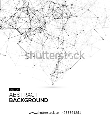 Low poly, Molecule And Communication Background. Abstract white bright technology vector background. Connection structure. Vector science background. Polygonal vector background
