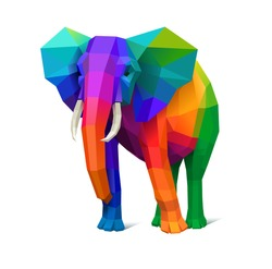 Low poly multicolored elephant, concept of strenght, eps10 vector