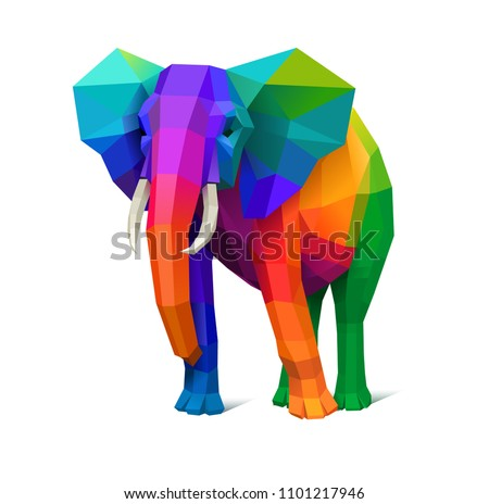 low poly multicolored elephant