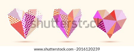 Low poly pattern geometric heart vector icons or logos set, graphic design 3d love theme element, polygonal dimensional heart. Photo stock ©