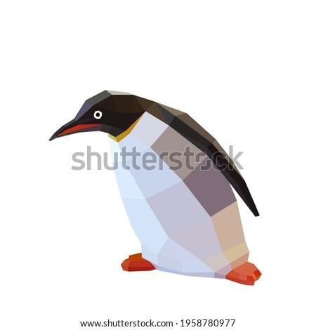 low poly penguin image. penguin logo vector illustration Photo stock ©