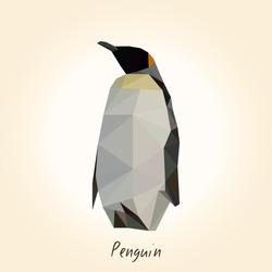 Low poly penguin. Low polygon penguin.