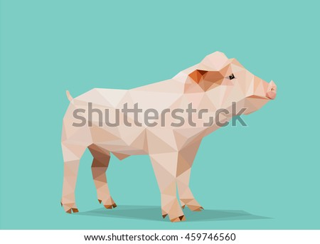 low poly piglet on blue mint