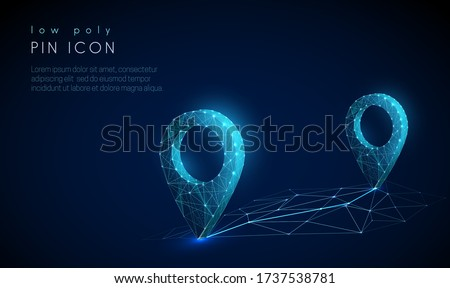 Low poly Pin icon on the abstract map. Technology style design. Geometric background. Wireframe light connection structure. Modern 3d graphic concept. Isolated vector illustration. Photo stock ©