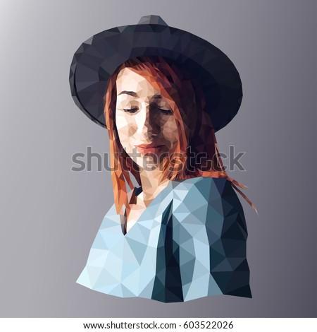 Low poly, polygon art. Illustration woman portrait.
