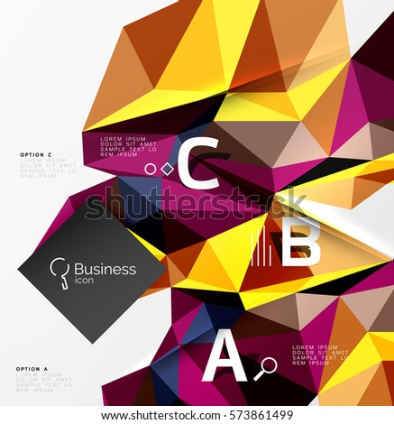Low poly polygonal triangle abstract background for abc infographics