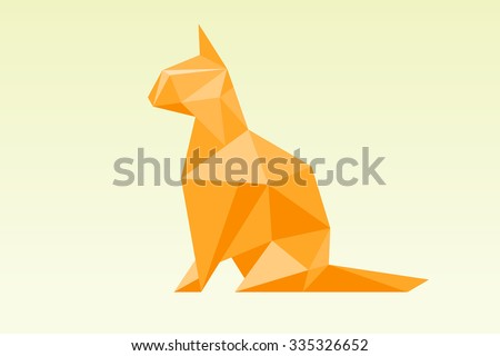 low poly red cat vector