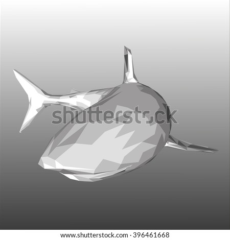 low poly shark on black