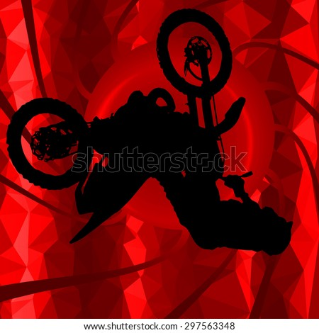 low poly silhouette motocross
