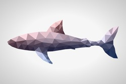 Low poly silhouette white shark. Rose Quartz - Serenity gradient.Abstract polygonal background.